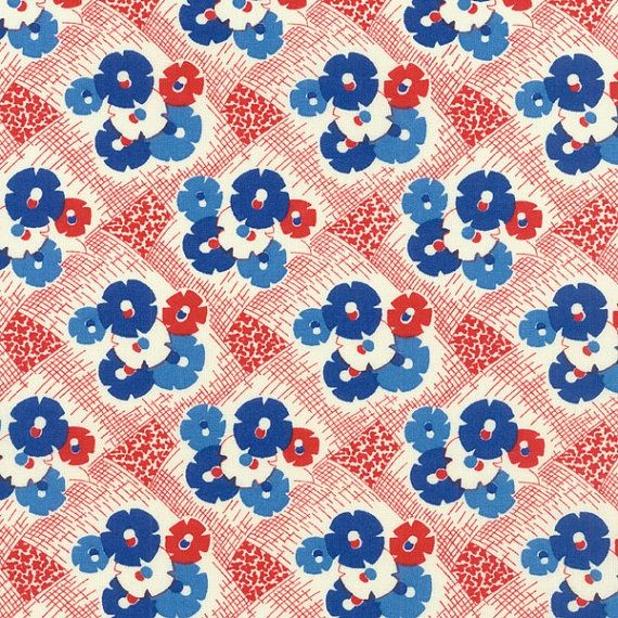 1930's red white and blue AND vintage kitchen linen