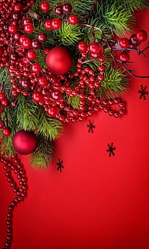 Download 480x800 «Red Christmas Decoration» Cell Phone Wallpaper. Category: Ho...