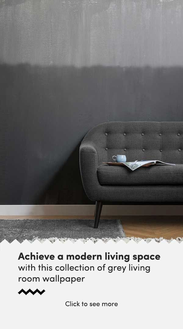 Add a grey wallpaper mural to your living room and creating a modern space. Laye...