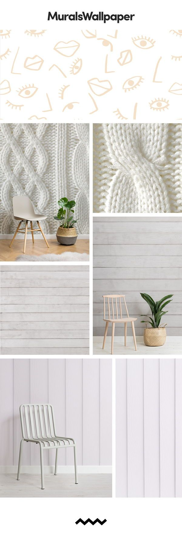 Brighten up your livingroom with a White Wallpaper Mural, a timeless piece that ...