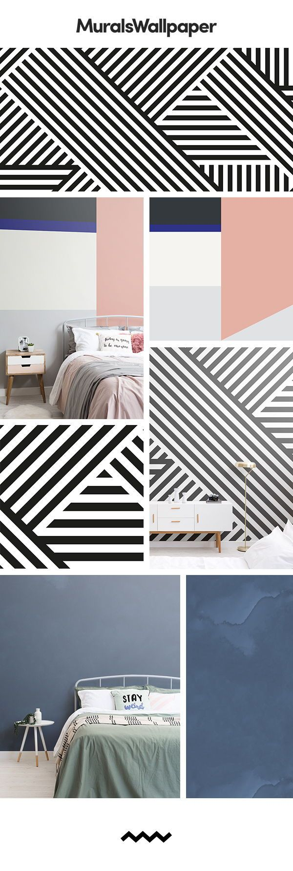 Create a modern teenage bedroom for girls with these fun and trendy wallpaper mu...