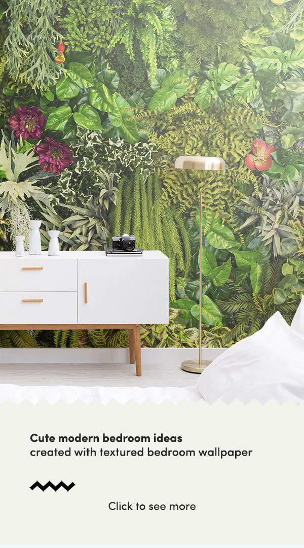 Form a cute modern bedroom with these botanical wallpaper designs and achieve a ...
