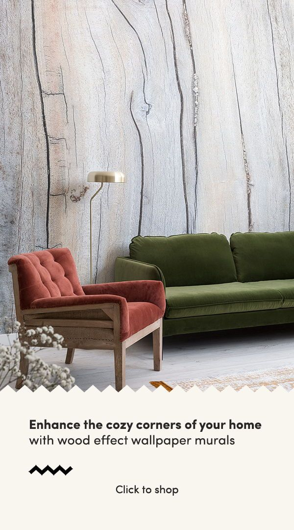 Enhance the cozy corners of your home with wood effect wallpaper murals, and ach...