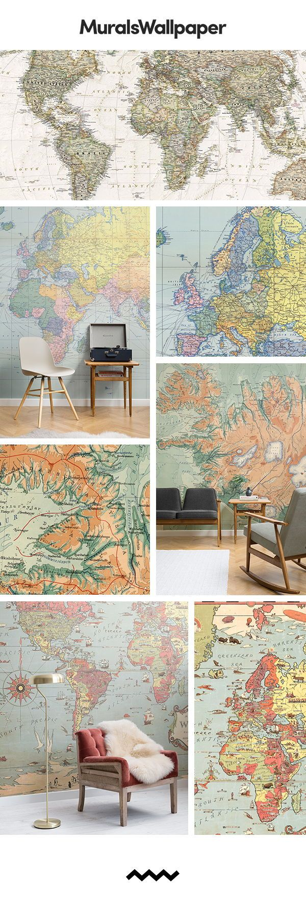 Complete a vintage living room look with these vintage map wallpaper. and instal...