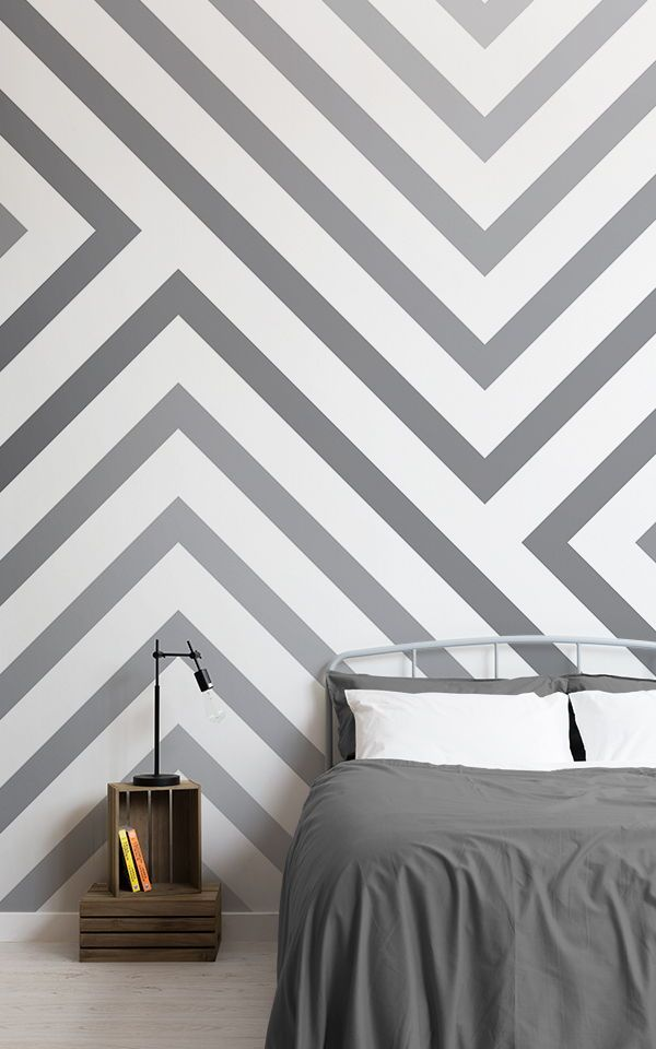 Cool geometric bedroom Ideas created with grey geometric wallpaper. These grey g...