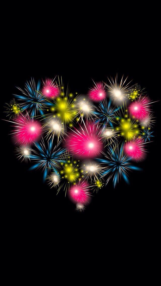 Black pink fireworks heart iphone wallpaper phone background lock screen