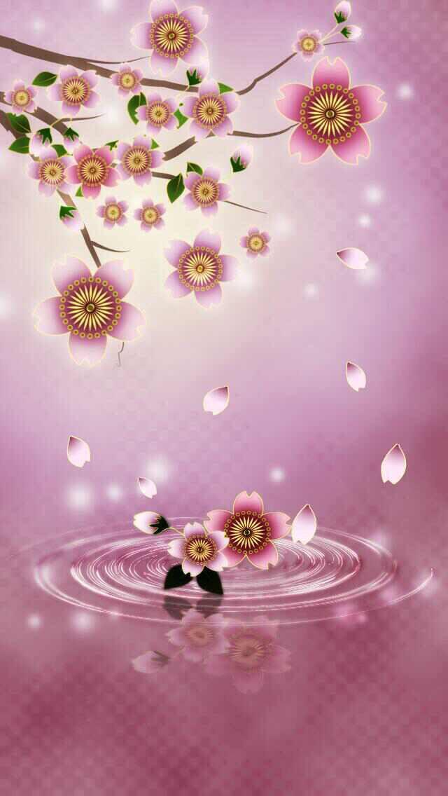 Digital Cherry Blossoms Wallpaper.
