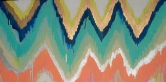 Custom ikat chevron 36x48 Painting by Jennifer by jmoreman82 #art #painting