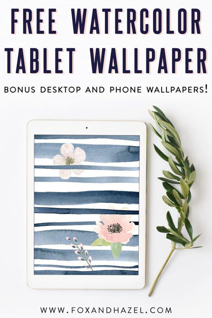 Grab this free spring watercolor tablet wallpaper! Bonus desktop and phone wallp...
