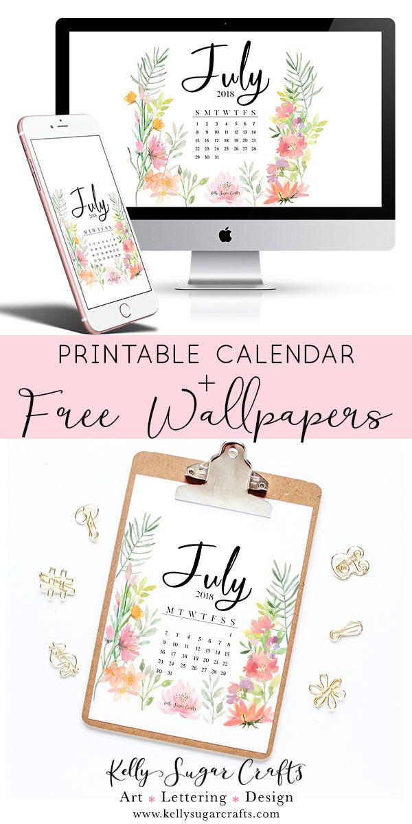 July 2018 Wallpapers + Printable | desktop, phone, tablet wallpaper | by Kelly S...