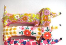 Mini Dachshunds made with Vintage 60's Fabric