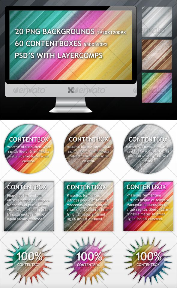 Stripes Backgrounds and Contentboxes  #GraphicRiver         Stripes Backgrounds:...