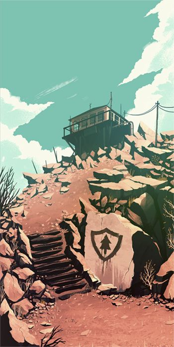 Concept illustration by Olly Moss for the game Firewatch.  One of many beautiful...
