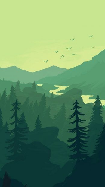 Firewatch landscape forest minimalistic iphone.