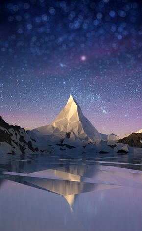 Mountain in low-poly, great composition all together perfect blend to create one...