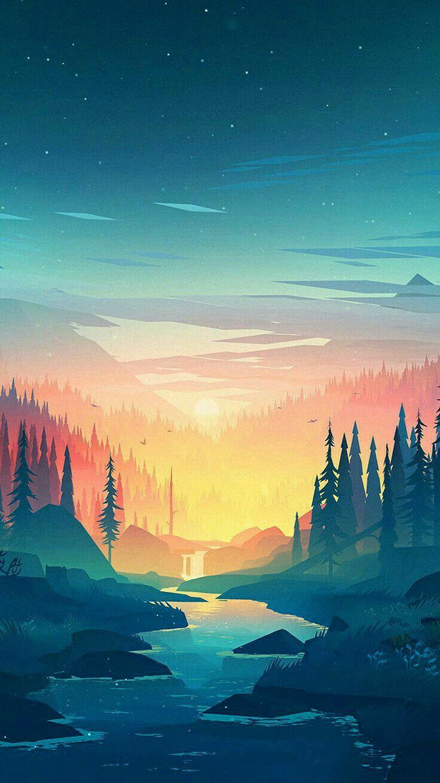 Firewatch Wallpaper Sunset Over The Valley Illustration Art