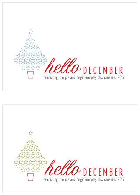 Free Hello December 2015 Journal Cards