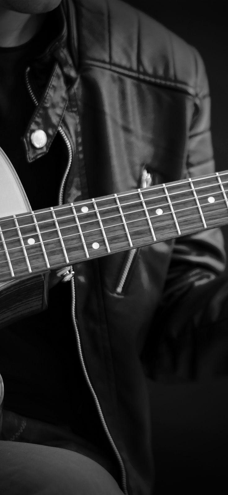 Iphone X Wallpaper : nc11-guitar-classical-music-art-guy-bw