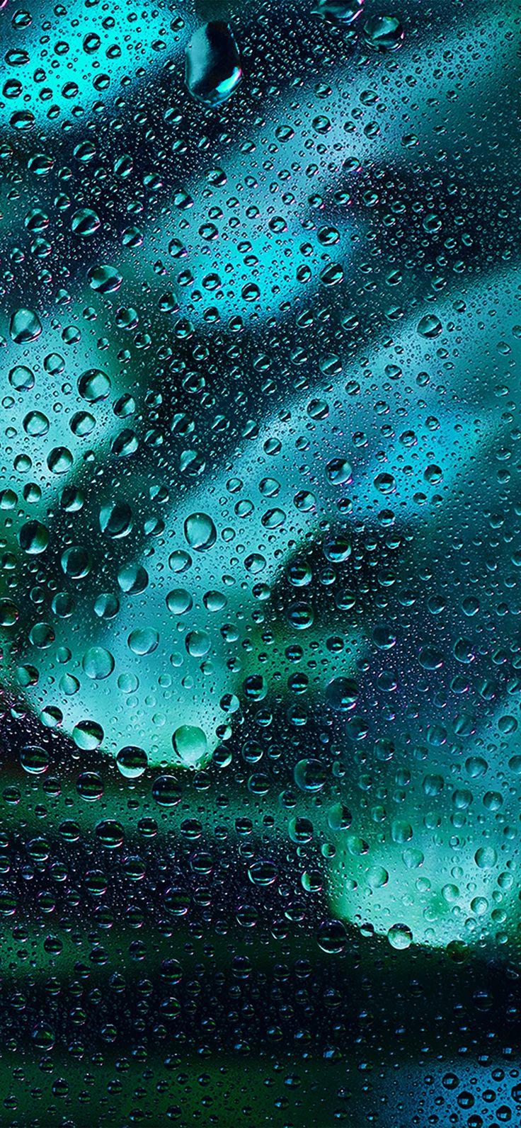 Iphone X Wallpaper Vx11 Rainy Bubble Blue Dark Window