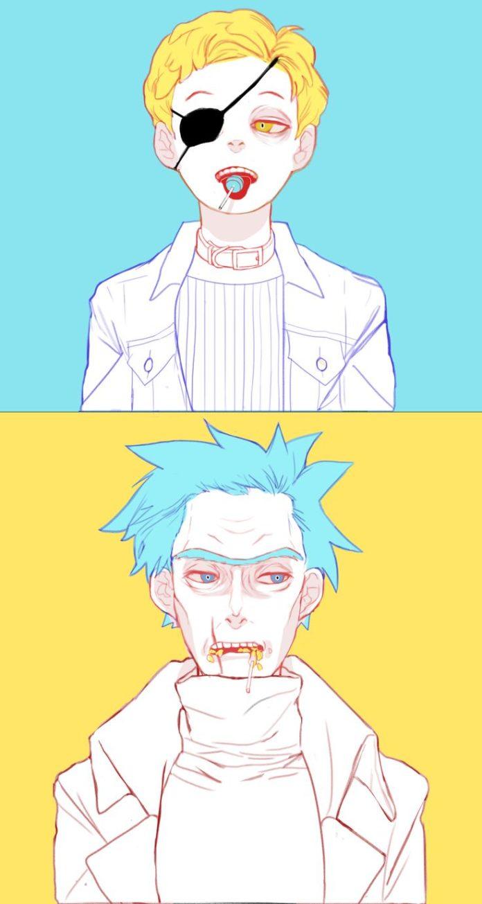 릭앤모티_이블모티+릭+막대사탕_낙서 Rick and Morty_Rick&Evilmorty ...