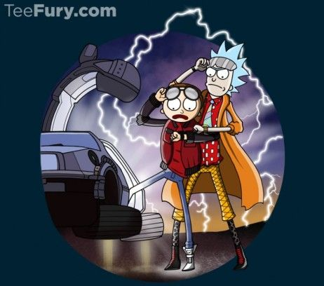Back to the Future / Rick and Morty mashup t-shirt.