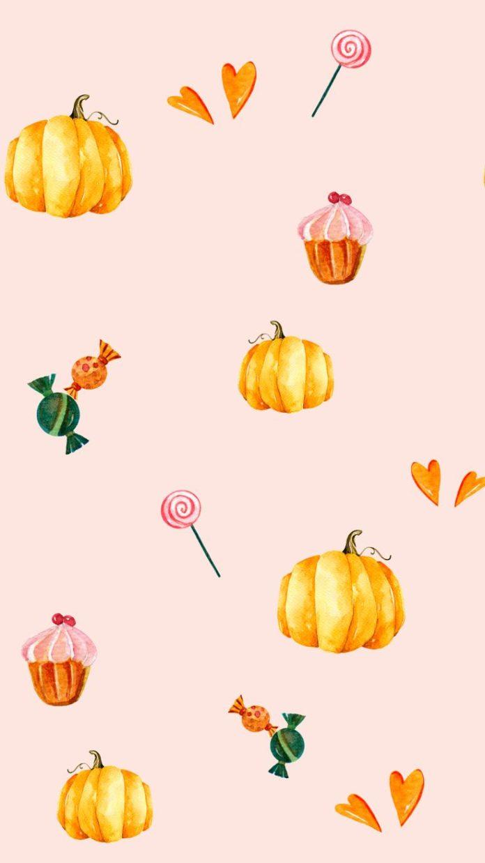 Free pretty pastel pumpkins and sweet treats Halloween desktop wallpaper #deskto...
