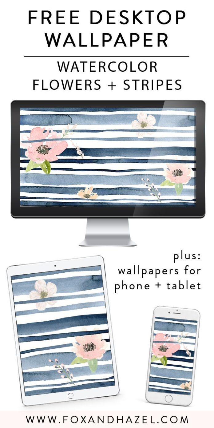 Grab this free spring watercolor desktop wallpaper! Bonus tablet and phone wallp...