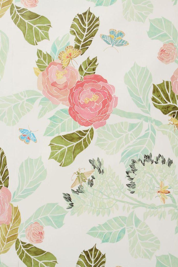 Slide View: 4: Anthropologie Watercolor Flora Wallpaper