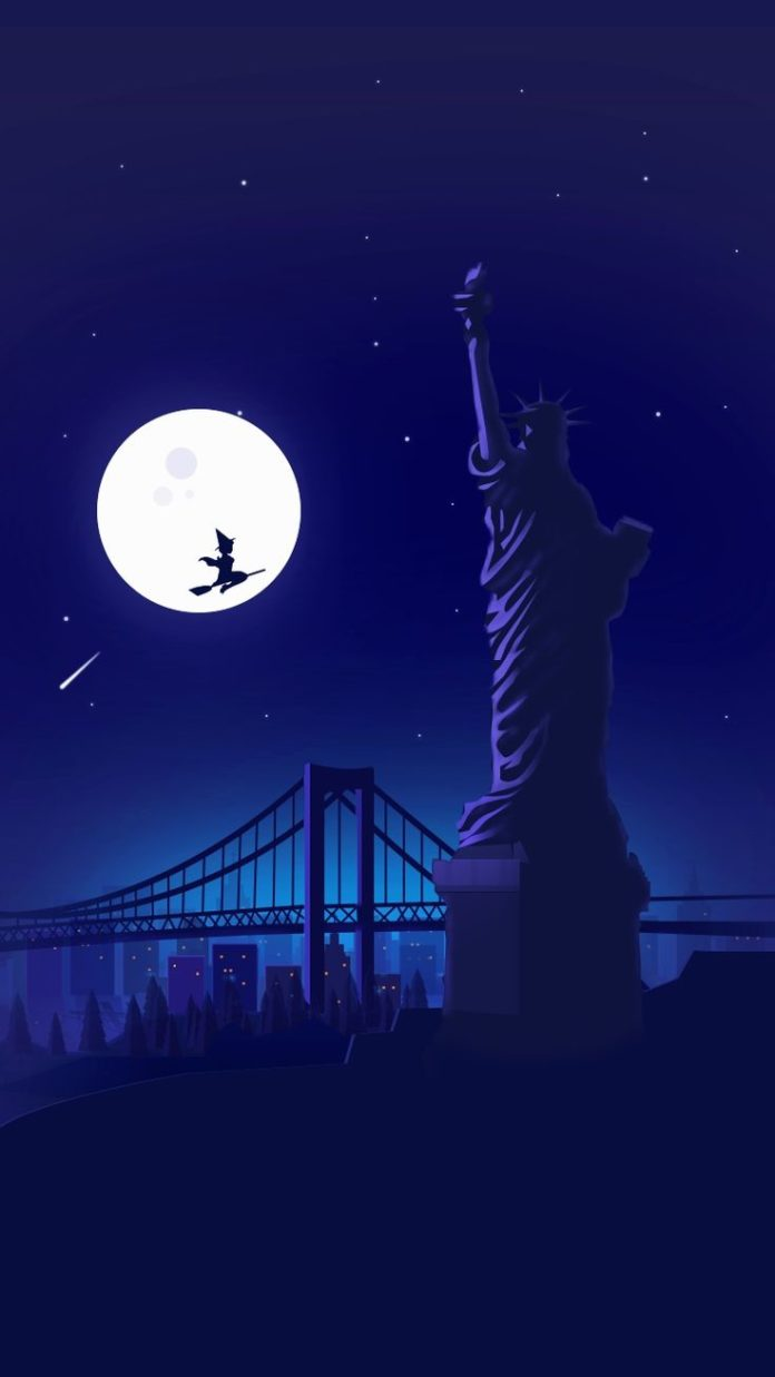 Halloween-Witch-at-Statue-of-Liberty-Holloween-Night-Moon-iPhone-Wallpaper