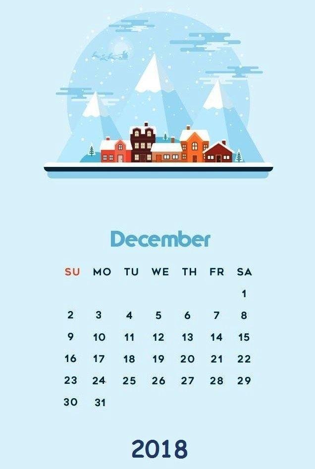 Cute December 2018 Christmas Celebration Calendar Writable
