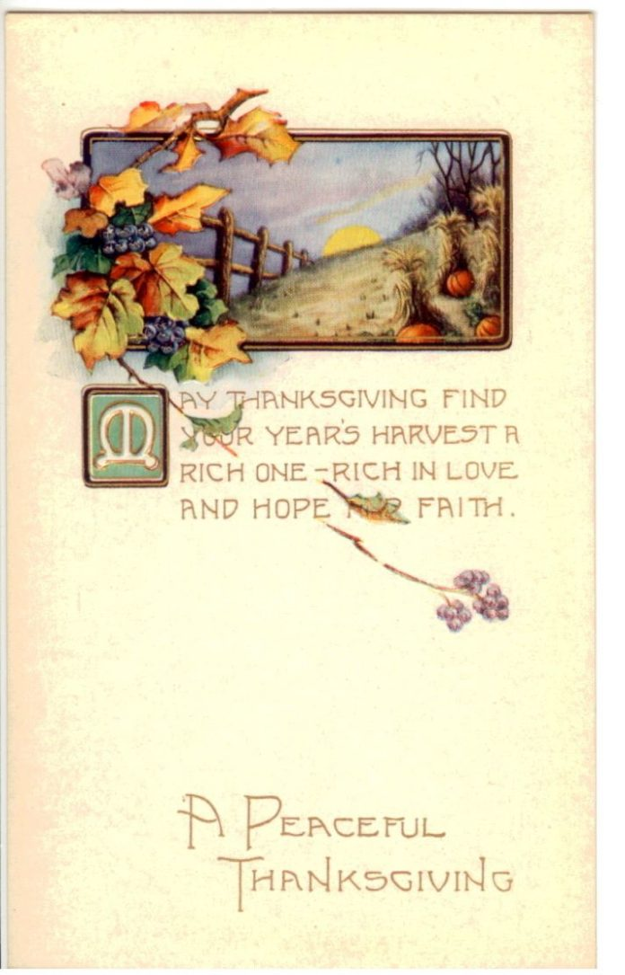 May Thanksgiving find your year's harvest a rich one - rich in love and hope...