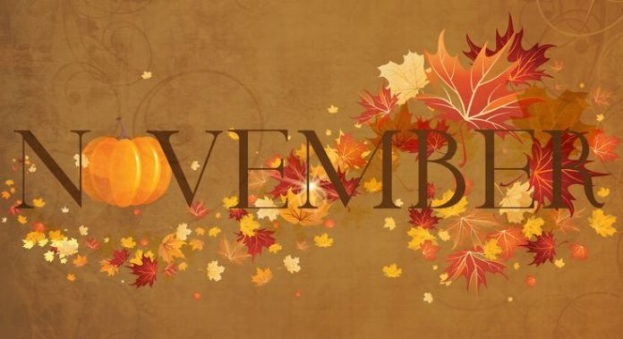 November Banner. Fall Leaves and Pumpkins. Seasonal Designs.