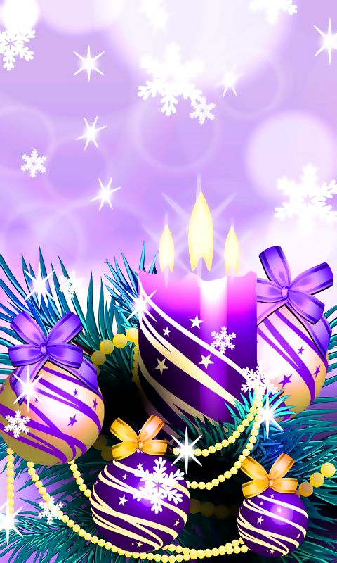 Download 480x800 «Christmas Balls and Candles Purple» Cell Phone Wallpaper. Ca...