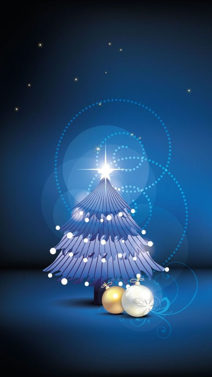 Night Christmas tree iPhone 6 plus wallpaper - stars #2014 #Christmas #tree #iPh...