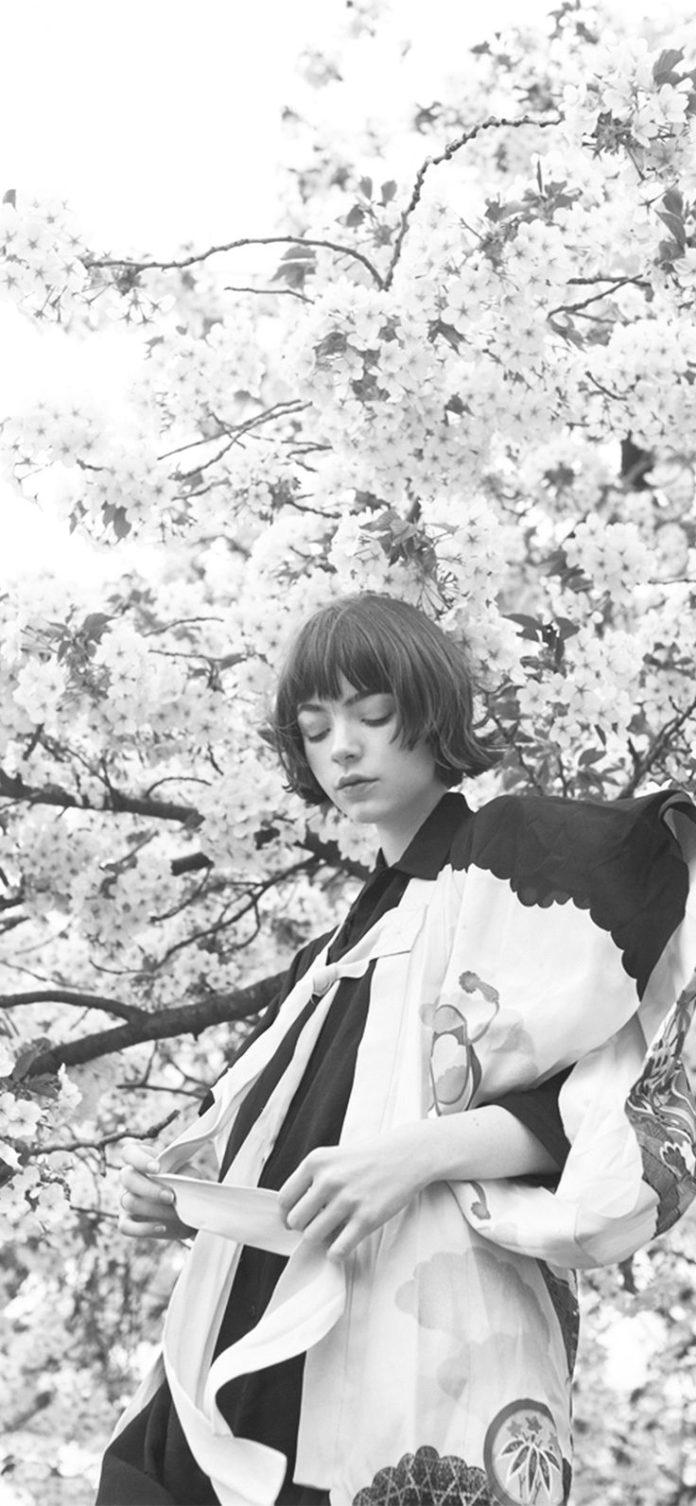ay91-spring-blossom-girl-illustration-art-bw-dark via iPhoneXpapers.com - Wallpa...