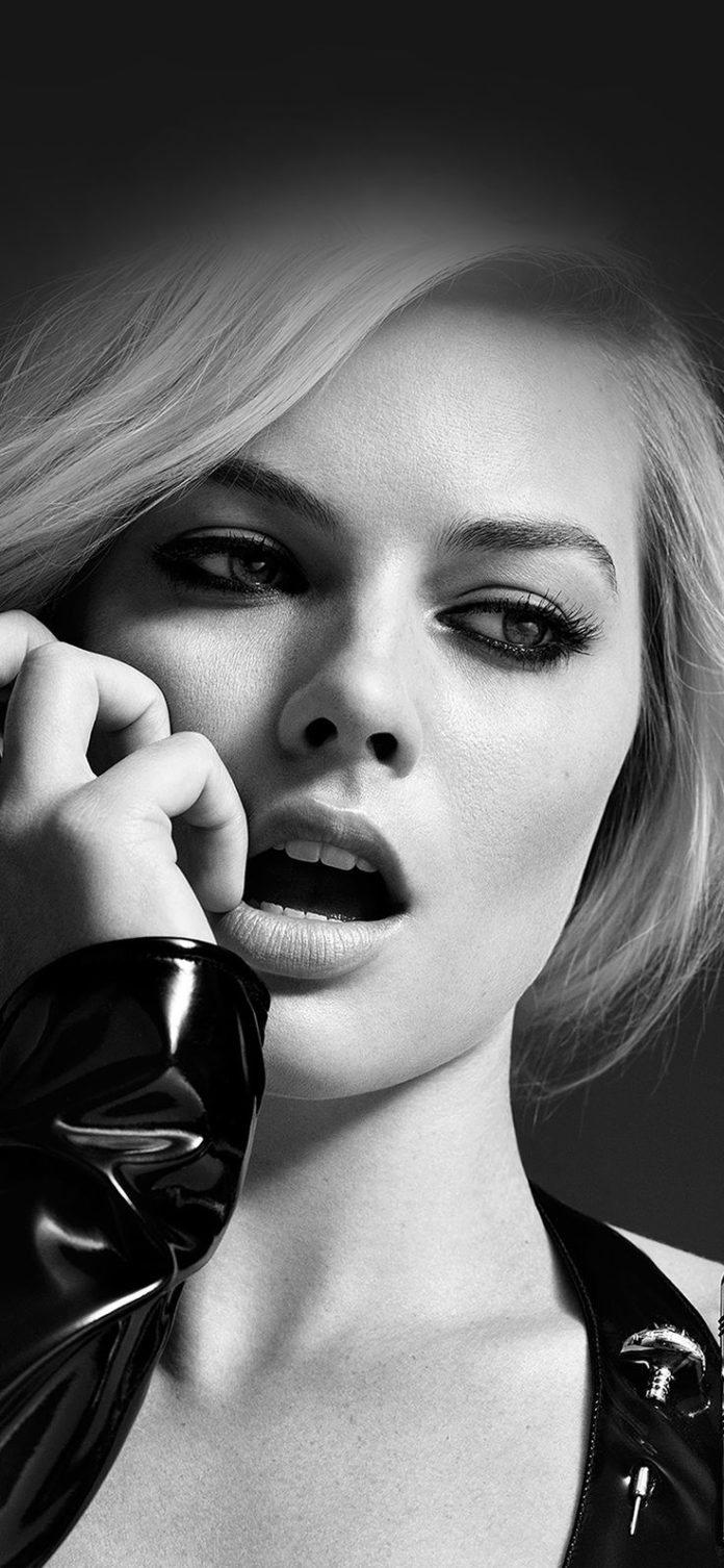 hp54-margot-robbie-celebrity-girl-bw via iPhoneXpapers.com - Wallpapers for iPho...