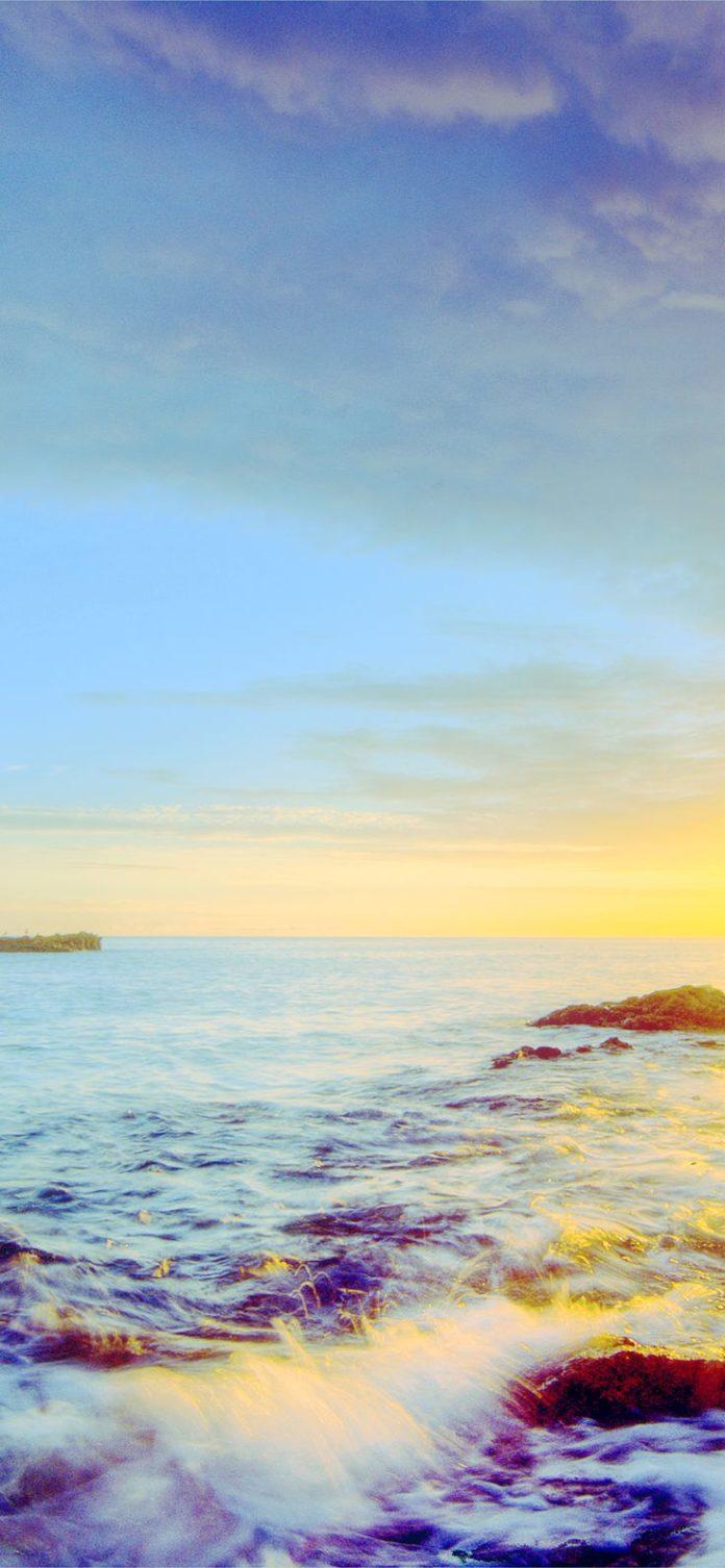 mr42-sunshine-evening-sunset-beach-rock-nature-blue via iPhoneXpapers.com - Wall...