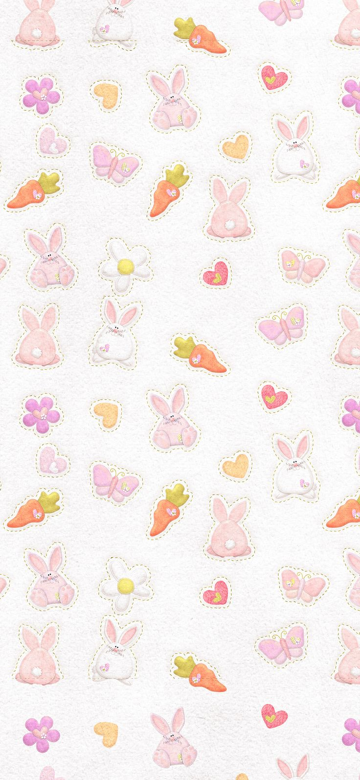 Iphone X Wallpaper Vp06 Cute Rabbit Chracter Pattern Red Via