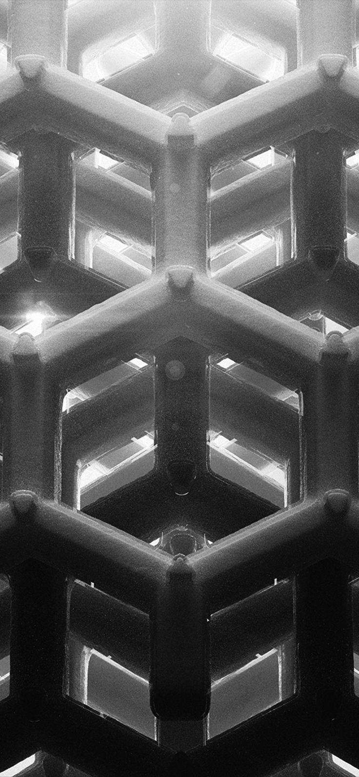 Iphone X Wallpaper Vp91honey Cube Pattern Comb Dark Bw Via