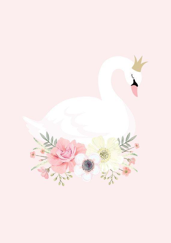 Imprimé de cygne et la princesse rose par GingerMonkey0 sur Etsy