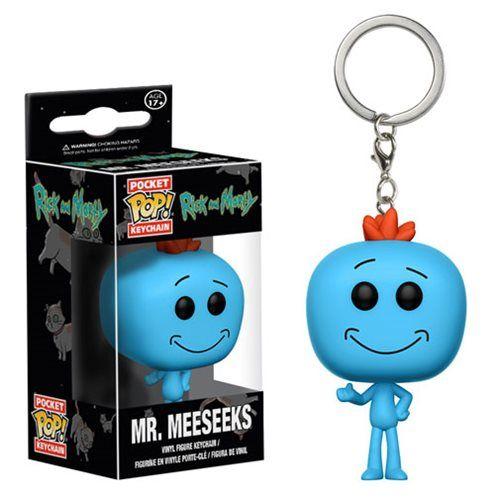 (affiliate link)  Rick and Morty Mr. Meeseeks Pocket Pop! Key Chain
