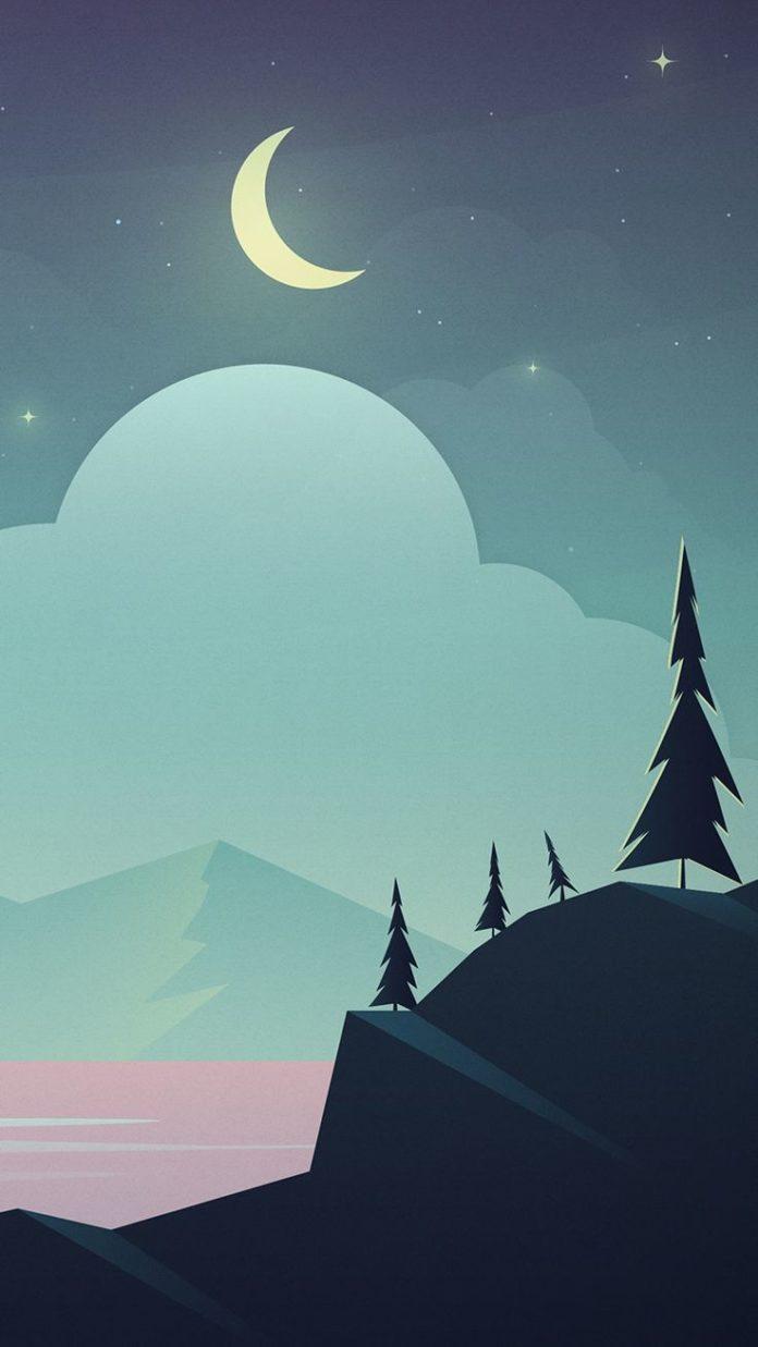 Moon-Lake-Beach-Art-iPhone-Wallpaper