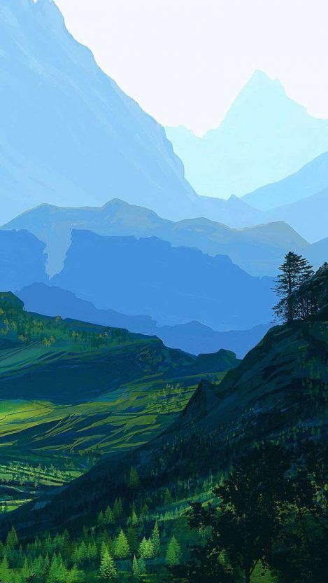 Nature Painting Scenery Mountains iPhone Wallpaper