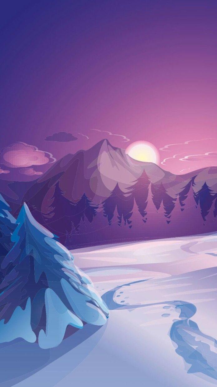 Snowy mountain with sunrise illustration #art #dogotalart #digitalpainting