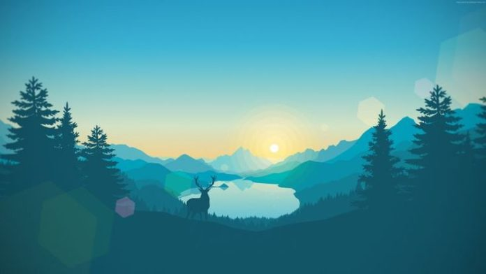 flat, abstract, forest, deer