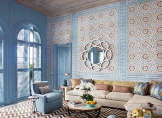 exotic, blue, wallpaper, moroccan, pattern, chevron, living room