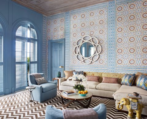 exotic, blue, wallpaper, moroccan, pattern, chevron, living room