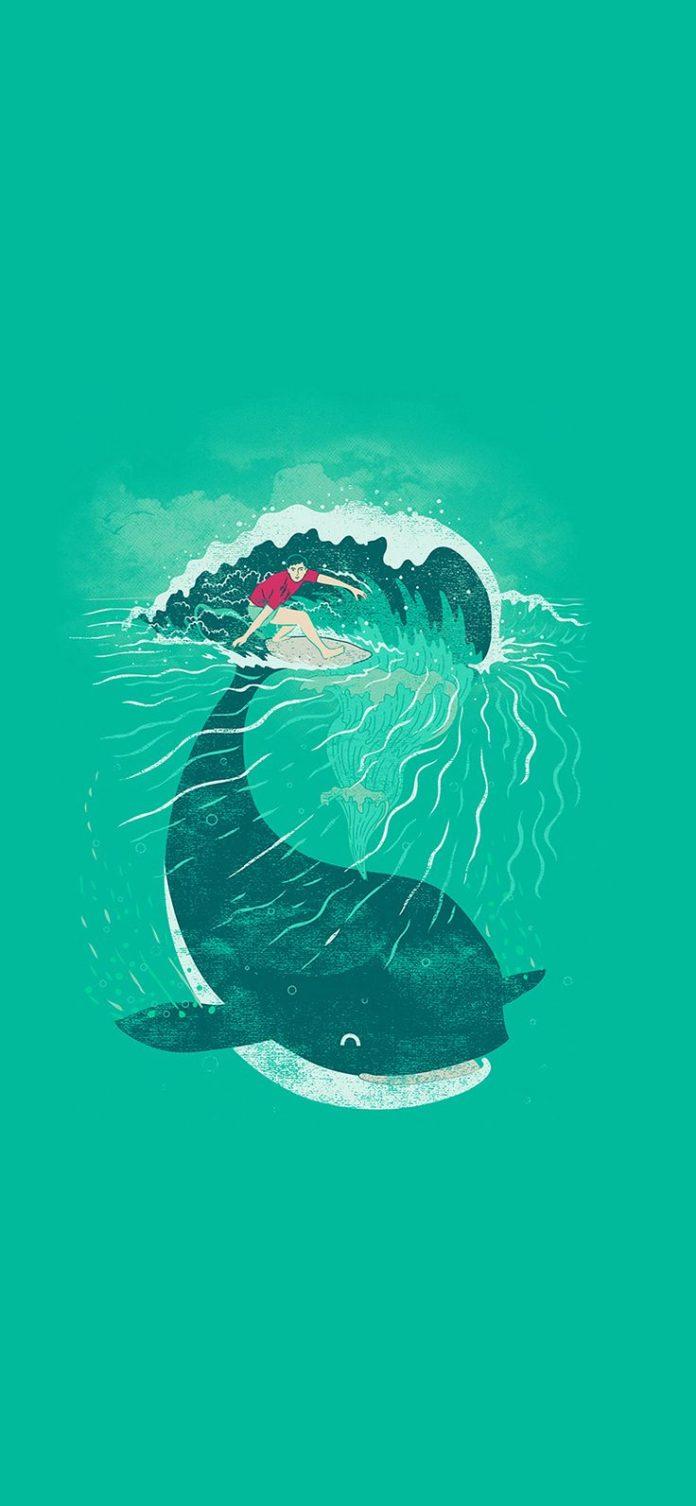 ah85-whale-surfer-wave-animal-illust-art-sea via iPhoneXpapers.com - Wallpapers ...