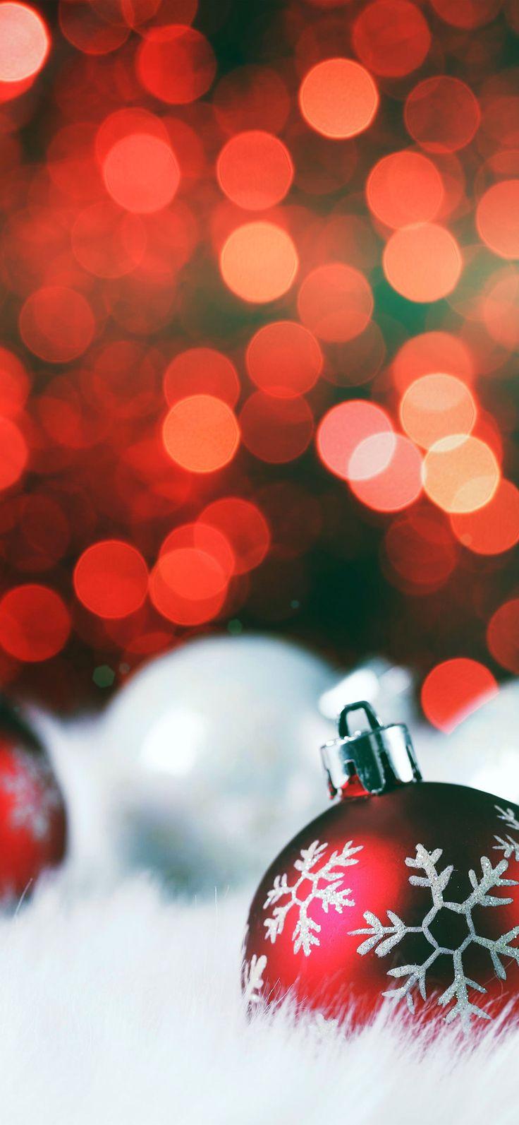 Iphone X Wallpaper Av73 Christmas Bokeh Holiday Red