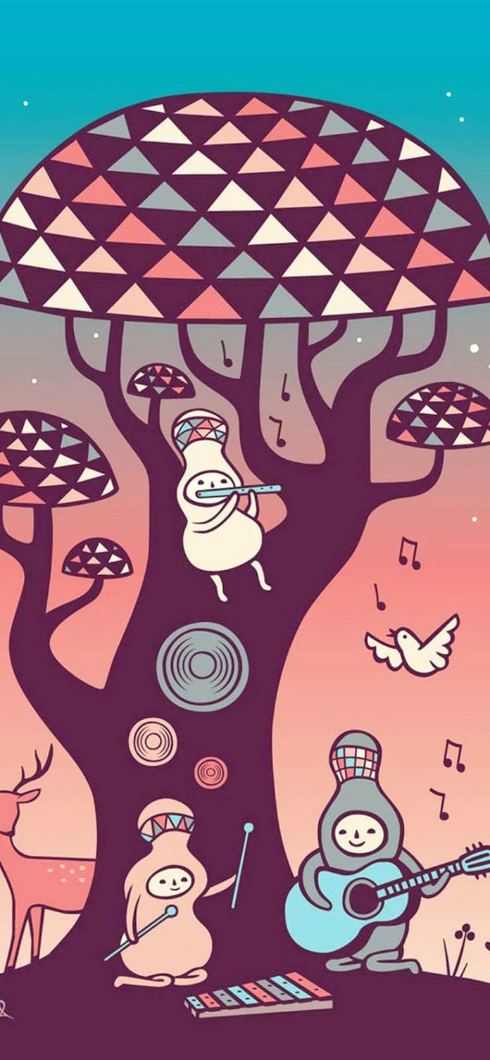 ax18-cute-music-characters-illustration-art-red via iPhoneXpapers.com - Wallpape...
